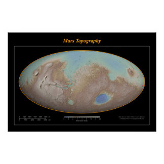 Mars Topography (Topaz) Posters