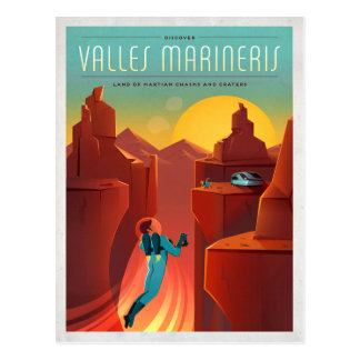 Mars Valles Marineris Retro Space Tourism Postcard