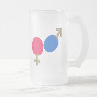 Mars Venus Ping Pong Frosted Glass Beer Mug