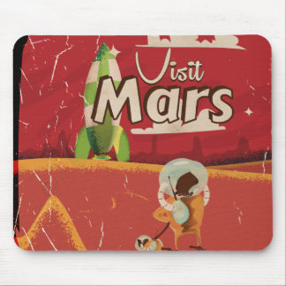 Mars Vintage Travel Poster Mouse Pad
