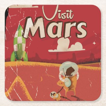 bartonleclaydesign Mars Vintage Travel Poster Square Paper Coaster
