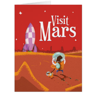 Mars Voyage vintage travel poster Card