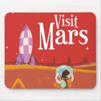 Mars Voyage vintage travel poster Mouse Pad