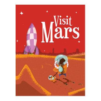 Mars Voyage vintage travel poster Postcard