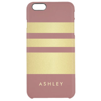 Marsala 2015 Trendy Color Gold Stripes Pattern Uncommon Clearly™ Deflector iPhone 6 Plus Case