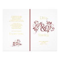 Marsala ampersand scroll leaf wedding program