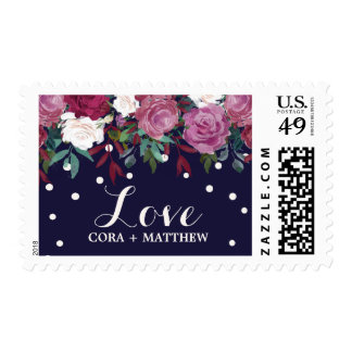 "Marsala and Burgundy Floral on Navy ""Love"" Wedding Postage"