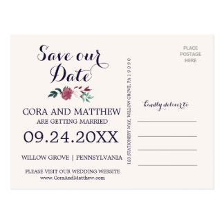 Marsala and Burgundy Floral on Navy Save the Date Postcard