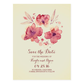 Marsala and Cream Watercolor Floral Save the Date Postcard