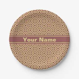 Marsala and Custard Nested Octagon Paper Plate 7 Inch Paper Plate
