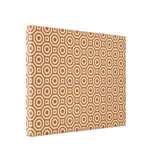 Marsala and Custard Nested Octagon Wrapped Canvas