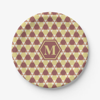 Marsala and Custard Triangle-Hex Paper Plate 7 Inch Paper Plate