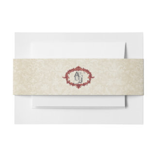 Marsala and Ecru Vintage Frame with Monogram A15 Invitation Belly Band