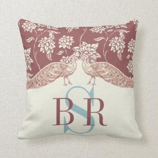 MARSALA AND IVORY VINTAGE PEACOCK Monogram Pillow