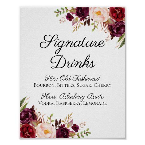 Marsala and Pink Floral Signature Drinks Sign