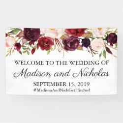 Marsala and Pink Floral Wedding Banner Decoration