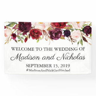 Marsala and Pink Floral Wedding Banner Decoration