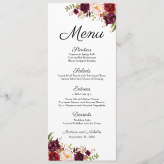 Marsala and Pink Floral Wedding Menu Rack Cards
