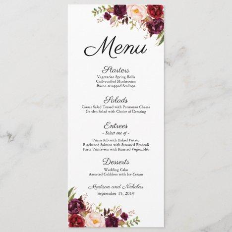 Marsala and Pink Floral Wedding Menu Rack Cards