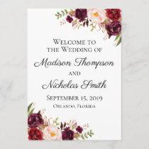 Marsala and Pink Floral Wedding Program Cards