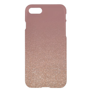 Marsala and Rose Gold Faux Glitter Ombre Fade iPhone 7 Case