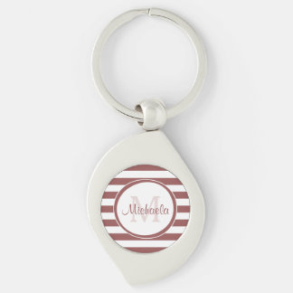 Marsala and White Broad Stripes With Stylish Name Keychain