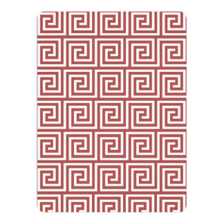 Marsala and White Greek Key Pattern Announcement Cards