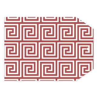 Marsala and White Greek Key Pattern 5x7 Paper Invitation Card