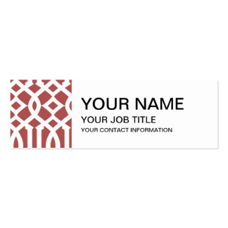 Marsala and White Modern Trellis Pattern Double-Sided Mini Business Cards (Pack Of 20)