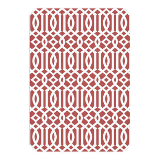 Marsala and White Modern Trellis Pattern Card