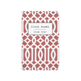 Marsala and White Modern Trellis Pattern Journal