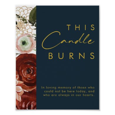Marsala Autumn Floral | Navy This Candle Burns Poster