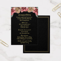 Marsala Black Floral Wedding accommodation cards