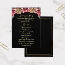 Marsala Black Floral Wedding accommodation cards