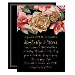 Marsala Black Floral Wedding Invitations