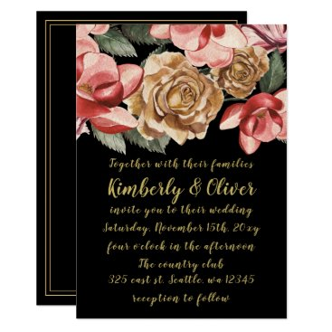 Marsala Black Floral Wedding Invitation