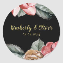 Marsala Black Floral Wedding Invitation Classic Round Sticker