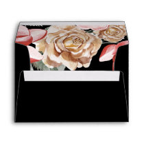 Marsala Black Floral Wedding Invitation Envelope