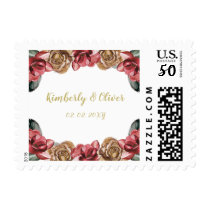 Marsala Black Floral Wedding Invitation Postage