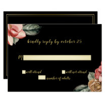 Marsala Black Floral Wedding Invitation rsvp
