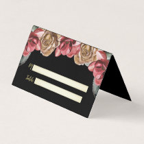 Marsala Black Floral Wedding Place Cards