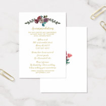 Marsala blush and gold floral accommodation cards