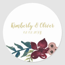 Marsala blush and gold floral wedding Invitation Classic Round Sticker