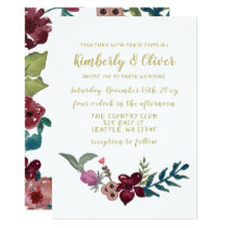 Marsala blush and gold floral wedding invitations