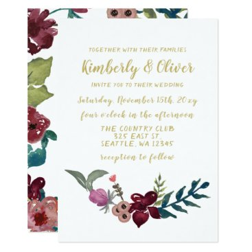 Marsala blush and gold floral wedding invitations