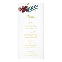 Marsala blush and gold floral wedding menu