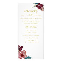 Marsala blush and gold floral wedding programs