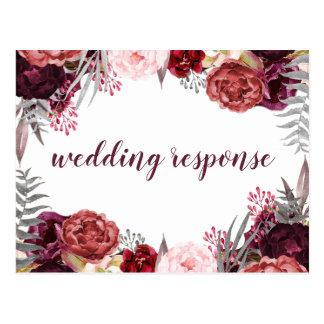Marsala Blush Pink Peony Wedding RSVP Postcards