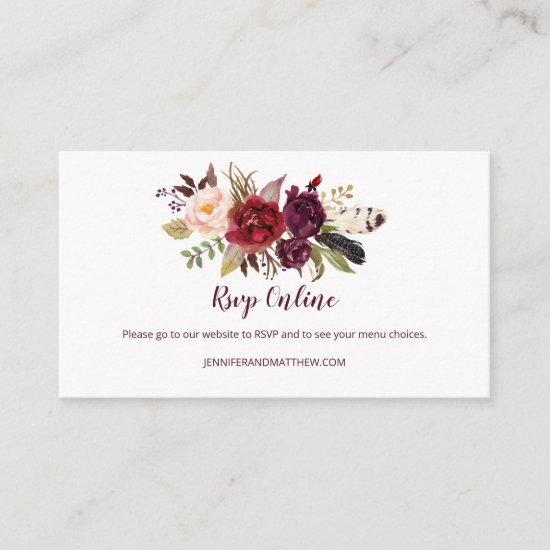 Marsala Boho Feathers Floral RSVP Online | Enclosure Card