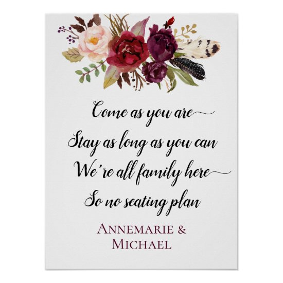 Marsala Boho Floral No Seating Plan Wedding Sign